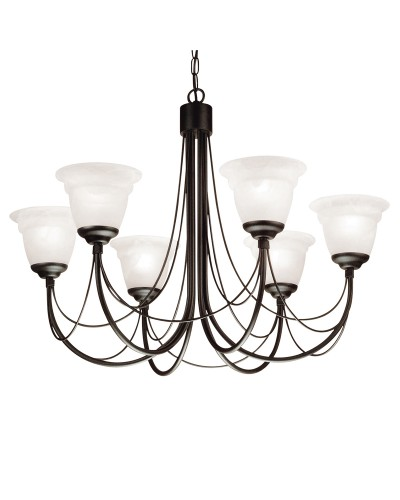 Elstead Lighting Carisbrooke 6 Light Duo Mount Chandelier In Black Finish Complete With White Alabaster Glass Shades