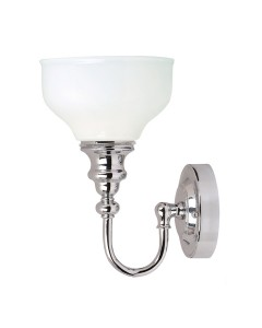 Elstead Lighting Cheadle 1 Light Bathroom Wall Light In Polished Chrome Finish With Opal Glass Shade (IP44)