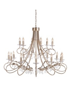 Elstead Lighting Christina 18 Light Chandelier In Silver/Gold Finish With Crystal Drops
