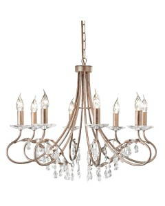 Elstead Lighting Christina 8 Light Duo-Mount Chandelier In Silver/Gold Finish With Crystal Drops