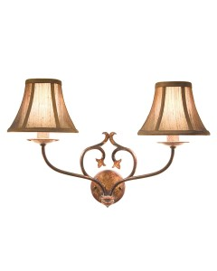 Elstead Lighting Coniston 2 Light Wall Light In Burnished Gold Finish With Brown Silk Effect Candle Shades