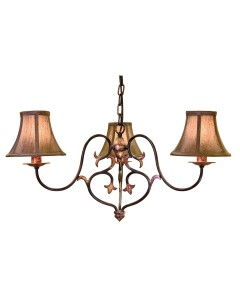 Elstead Lighting Coniston 3 Light Chandelier In Burnished Gold Finish With Brown Silk Effect Candle Shades