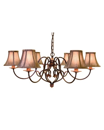 Elstead Lighting Coniston 6 Light Chandelier In Burnished Gold Finish With Brown Silk Effect Candle Shades