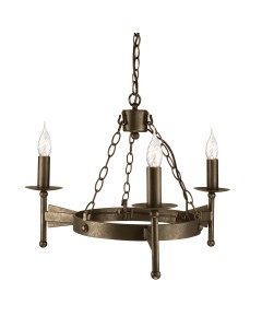 Elstead Lighting Cromwell 3 Light Wheel Chandelier In Old Bronze Finish