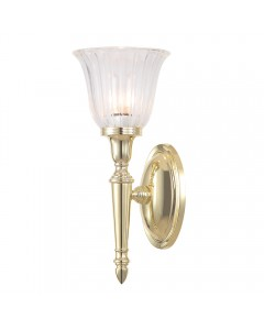 Elstead Lighting Dryden1 Solid Brass 1 Light Bathroom Wall Light In Polished Brass With Ridged Tulip Glass Shade (IP44)