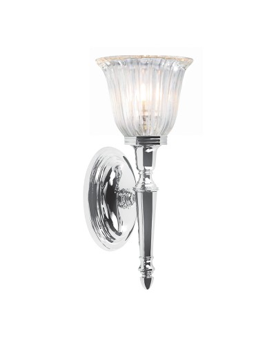Elstead Lighting Dryden1 Solid Brass 1 Light Bathroom Wall Light In Polished Chrome Finish With Ridged Tulip Glass Shade (IP44)