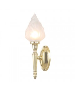 Elstead Lighting Dryden3 Solid Brass 1 Light Bathroom Wall Light In Polished Brass With Fluted Glass Shade (IP44)