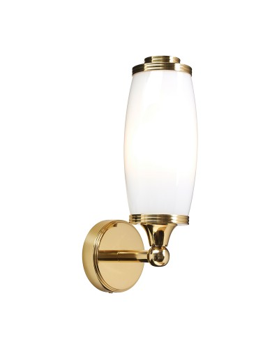 Elstead Lighting Eliot1 Solid Brass 1 Light Bathroom Wall Light In Polished Brass With Opal Glass (IP44)