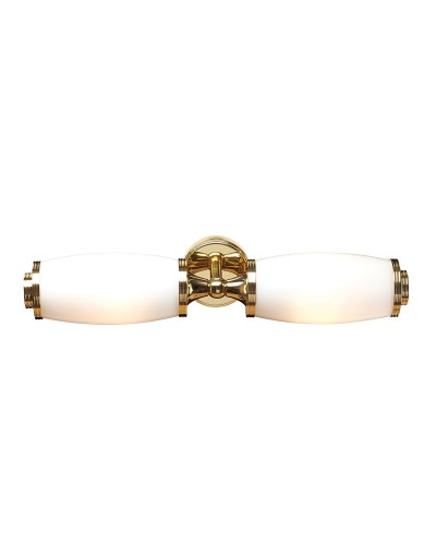 Elstead Lighting Eliot2 Solid Brass 2 Light Bathroom Wall Light In Polished Brass With Opal Glass (IP44)