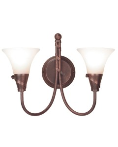 Elstead Lighting Emily 2 Light Wall Light In Copper Patina Finish With Glass Shades