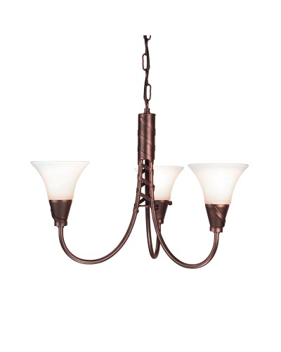 Elstead Lighting Emily 3 Light Duo-Mount Chandelier In Copper Patina Finish With Glass Shades