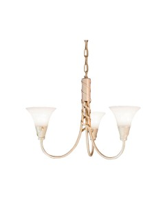 Elstead Lighting Emily 3 Light Duo-Mount Chandelier In Ivory/Gold Finish With Glass Shades