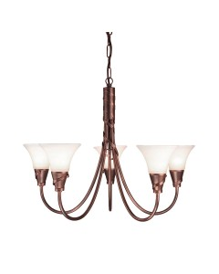 Elstead Lighting Emily 5 Light Duo-Mount Chandelier In Copper Patina Finish With Glass Shades
