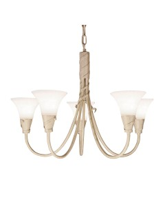Elstead Lighting Emily 5 Light Duo-Mount Chandelier In Ivory/Gold Finish With Glass Shades