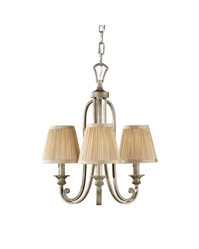 Feiss Abbey 3 Light Duo Mount Chandelier In Silver Sand Finish With Mushroom Pleated Shades