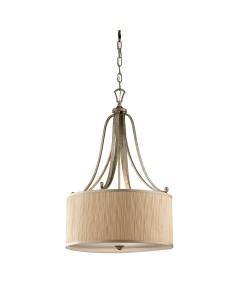 Elstead Lighting Feiss Abbey 3 Light Pendant In Silver Sand Finish With Mushroom Pleated Shade