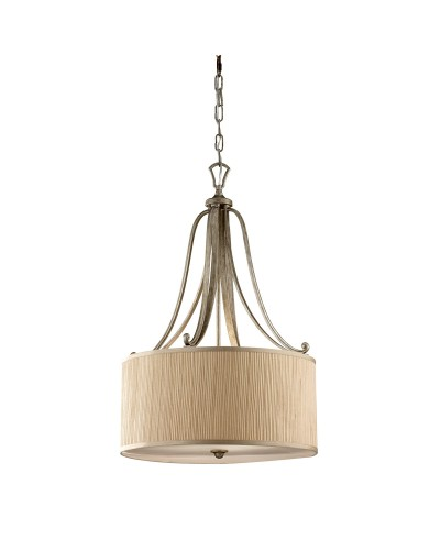 Feiss Abbey 3 Light Pendant In Silver Sand Finish With Mushroom Pleated Shade
