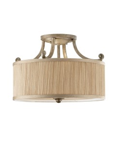 Feiss Abbey 3 Light Semi-Flush Ceiling Light In Silver Sand Finish With Mushroom Pleated Shade