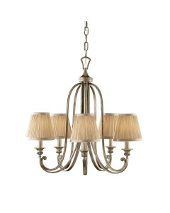 Feiss Abbey 5 Light Chandelier In Silver Sand Finish With Mushroom Pleated Shades