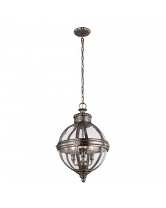 Elstead Lighting Feiss Adams 3 Light Pendant Chandelier In Antique Nickel Finish