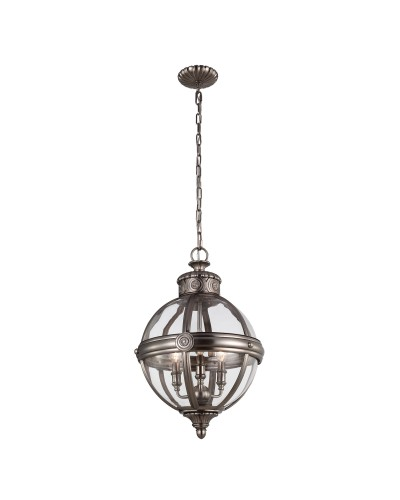 Feiss Adams 3 Light Pendant Chandelier In Antique Nickel Finish