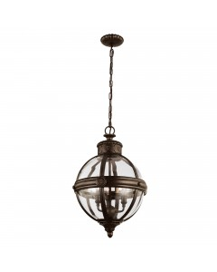 Elstead Lighting Feiss Adams 3 Light Pendant Chandelier In British Bronze Finish
