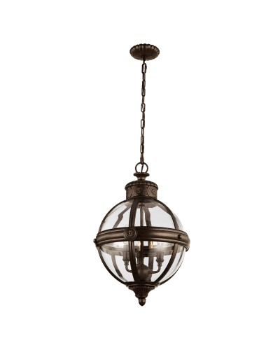 Feiss Adams 3 Light Pendant Chandelier In British Bronze Finish