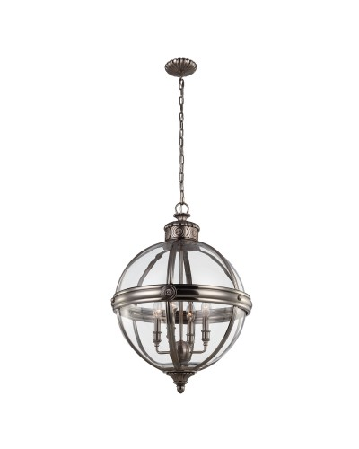 Feiss Adams 4 Light Pendant Chandelier In Antique Nickel Finish