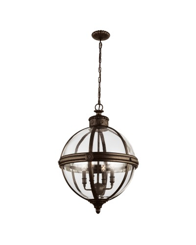 Feiss Adams 4 Light Pendant Chandelier In British Bronze Finish