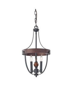 Elstead Lighting Feiss Alston 3 Light Duo Mount Pendant In Charcoal Black and Antique Forged Iron Finish