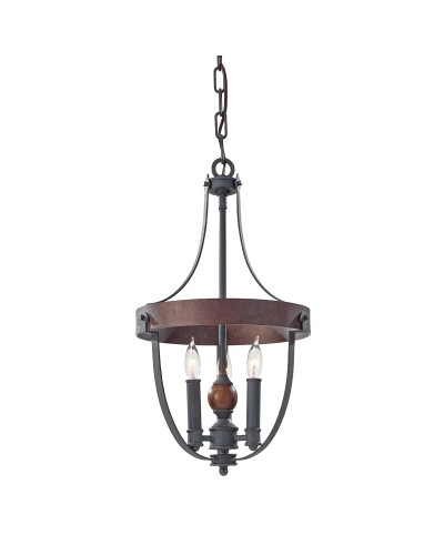 Feiss Alston 3 Light Duo Mount Pendant In Charcoal Black and Antique Forged Iron Finish