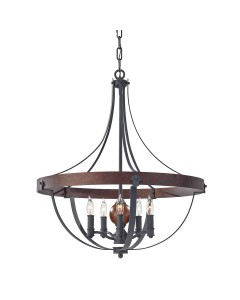 Feiss Alston 5 Light Pendant Chandelier In Charcoal Black and Antique Forged Iron Finish