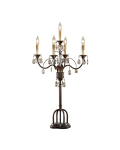 Feiss Anora 5 Light Table Lamp In Palladio and Dark Walnut Finish With Hand Polished Crystals