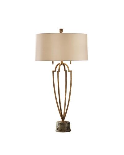 Feiss Ansari 2 Light Table Lamp In Firenze Gold Finish With Mushroom Taffeta Shade