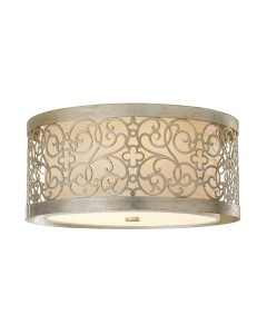 Feiss Arabesque 2 Light Flush Ceiling Light In Silver Leaf Patina Finish