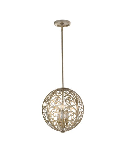 Feiss Arabesque 3 Light Sphere Pendant In Silver Leaf Patina Finish With Height Adjustable Rods