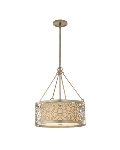 Feiss Arabesque 4 Light Large Pendant In Silver Leaf Patina Finish With Height Adjustable Rods