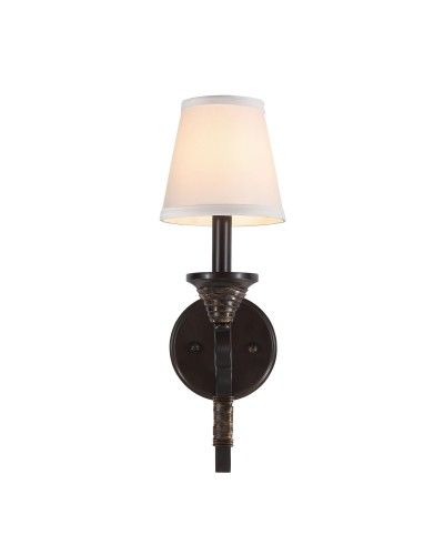 Feiss Arbor Creek 1 Light Wall Light In Arbor Bronze & Weathered Brass Finish With Ivory Linen Fabric Shade