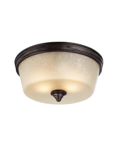 Feiss Arbor Creek 2 Light Flush Mounted Ceiling Light In Arbor Bronze & Weathered Brass Finish