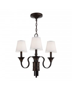 Feiss Arbor Creek 3 Light Chandelier In Arbor Bronze & Weathered Brass Finish With Ivory Linen Fabric Shades