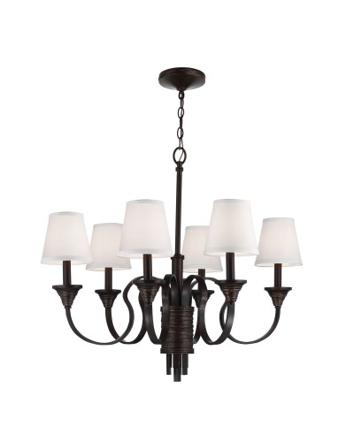 Feiss Arbor Creek 6 Light Chandelier In Arbor Bronze & Weathered Brass Finish With Ivory Linen Fabric Shades