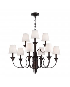 Feiss Arbor Creek 9 Light Chandelier In Arbor Bronze & Weathered Brass Finish With Ivory Linen Fabric Shades