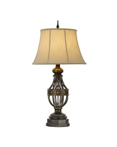 Feiss Augustine 1 Light Table Lamp In Antique Brown Finish With Ivory Soft Lined Shade
