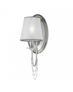 Feiss Aveline 1 Light Wall Light In Brushed Steel With Crystals, Ghost Pearls And Organza Shade