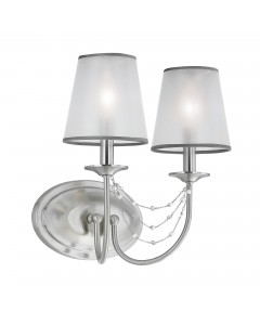 Feiss Aveline 2 Light Wall Light In Brushed Steel With Crystals, Ghost Pearls And Organza Shades
