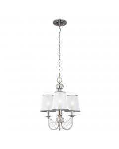 Feiss Aveline 3 Light Chandelier In Brushed Steel With Crystals, Ghost Pearls And Organza Shades