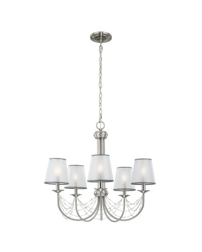 Feiss Aveline 5 Light Chandelier In Brushed Steel With Crystals, Ghost Pearls And Organza Shades
