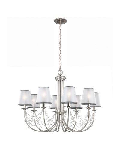 Feiss Aveline 8 Light Chandelier In Brushed Steel With Crystals, Ghost Pearls And Organza Shades