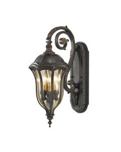 Feiss Baton Rouge 3 Light Outdoor Medium Wall Lantern In Warm Walnut Finish