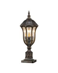 Feiss Baton Rouge 3 Light Outdoor Pedestal Lantern In Warm Walnut Finish